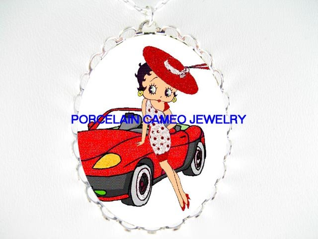 BETTY BOOP SPORT CAR* CAMEO PORCELAIN NECKLACE