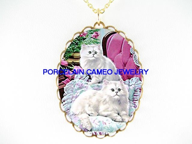 2 GREENE EYES WHITE PERSIAN CAT ROSE * CAMEO PORCELAIN NECKLACE