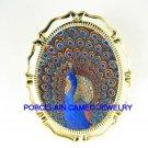 RARE MOSAIC PEACOCK BIRD PORCELAIN CAMEO PIN BROOCH