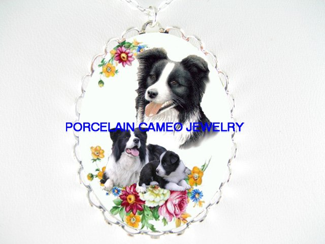BORDER COLLIE DOG MOM CUDDLING PUPPY ROSE* CAMEO PORCELAIN NECKLACE