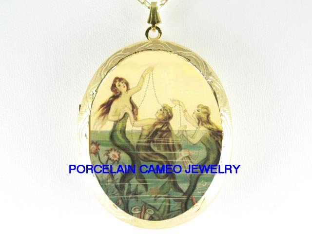3 VICTORIAN MERMAID SISTERS PORCELAIN CAMEO LOCKET NK