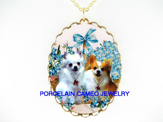 2 JEWELED WHITE CHIHUAHUA DOG FORGET ME NOT NECKLACE
