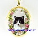 BLACK WHITE CAT ROSE CAMEO PORCELAIN LOCKET NECKLACE