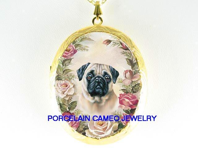 PUG DOG PINK ROSE FLOWER PORCELAINCAMEO LOCKET NECKLACE