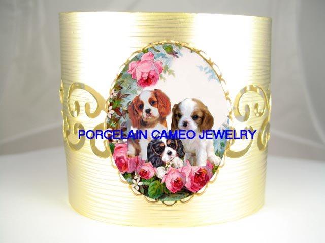 3 CAVALIER KING CHARLES SPANIEL PUPPY DOG BNAGLE BRACELET