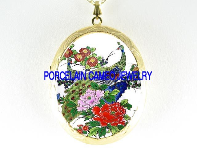 2 PEACOCK BIRD CHINESE PEONY PORCELAIN CAMEO LOCKET NK