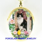 BLACK WHITE CAT ROSE WINDOW GOLDFINCH BIRD CAMEO LOCKET