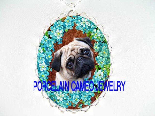 SWEET PUG DOG FORGET ME NOT PORCELAIN CAMEO NECKLACE