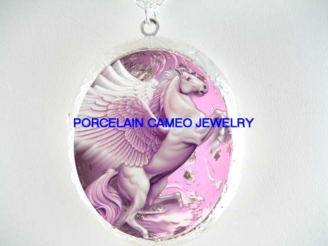 PINK PEGASUS HORSE CAMEO PORCELAIN LOCKET NECKLACE