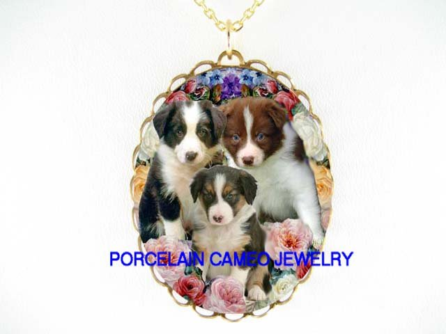3 COLORS BORDER COLLIE PUPPY DOG ROSE* CAMEO PORCELAIN NECKLACE