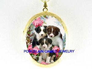 3 COLORS BORDER COLLIE PUPPY DOG ROSE CAMEO LOCKET NK