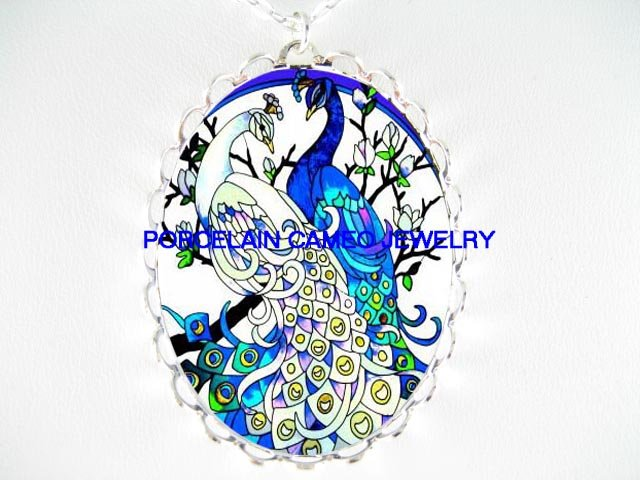 2 BLUE WHITE LOVING PEACOCK CAMEO PORCELAIN NECKLACE