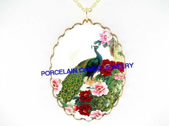 PEACOCK BIRD CHINESE PEONY* CAMEO PORCELAIN NECKLACE