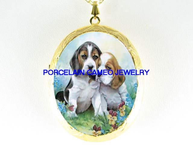 2 CUDDLING BEAGLE PUPPY DOG PANSY *  CAMEO PORCELAIN LOCKET NECKLACE