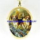 2 BEAGLE  DOG COUNTRY OUTDOOR*  CAMEO PORCELAIN LOCKET NECKLACE