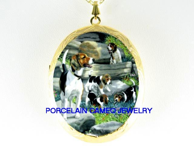 4 BEAGLE FAMILY MOM PUPPY DOG *  CAMEO PORCELAIN LOCKET NECKLACE