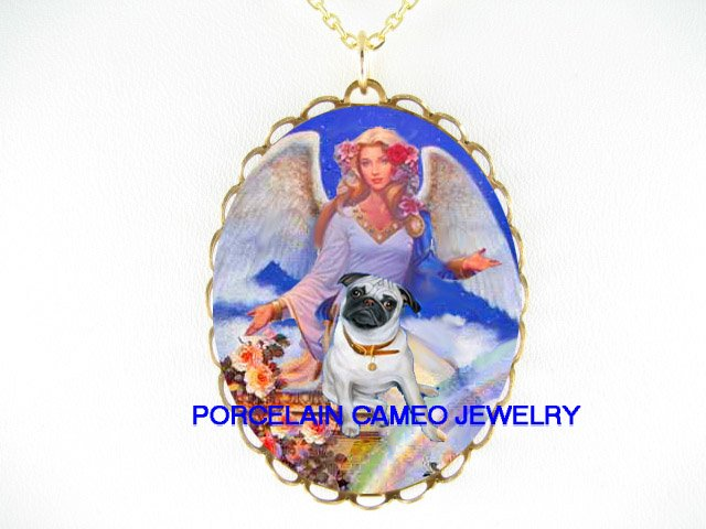 PUG DOG WITH ANGEL ROSE RAINBOW* CAMEO PORCELAIN NECKLACE