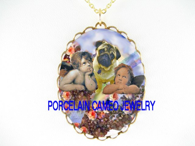 PUG DOG RAPHAEL ANGEL CHERUB ROSE RAINBOW* CAMEO PORCELAIN NECKLACE