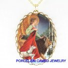 CHRISTIAN ANGEL LION AND LAMB CAMEO PORCELAIN NECKLACE