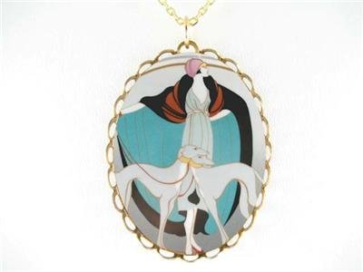 ART DECO GREYHOUND DOG PORCELAIN CAMEO PENDANT NECKLACE