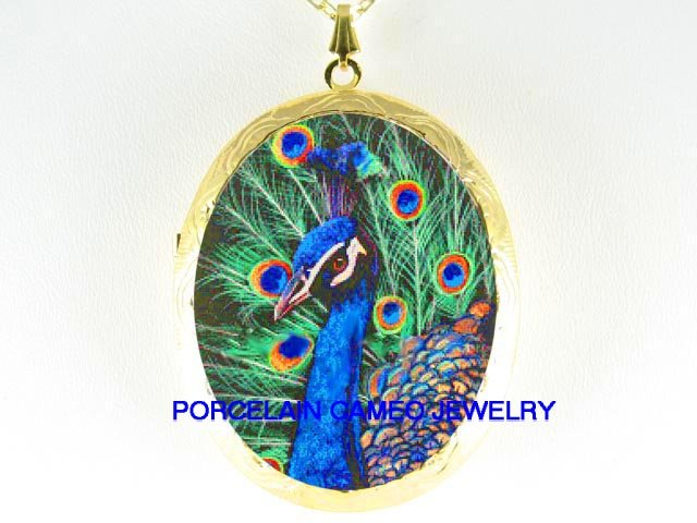 BLUE GOLDEN PEACOCK BIRD  CAMEO PORCELAIN LOCKET NECKLACE