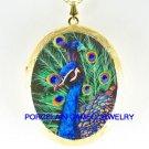 BLUE GOLDEN PEACOCK BIRD CAMEO PORCELAIN LOCKET NECKLACE