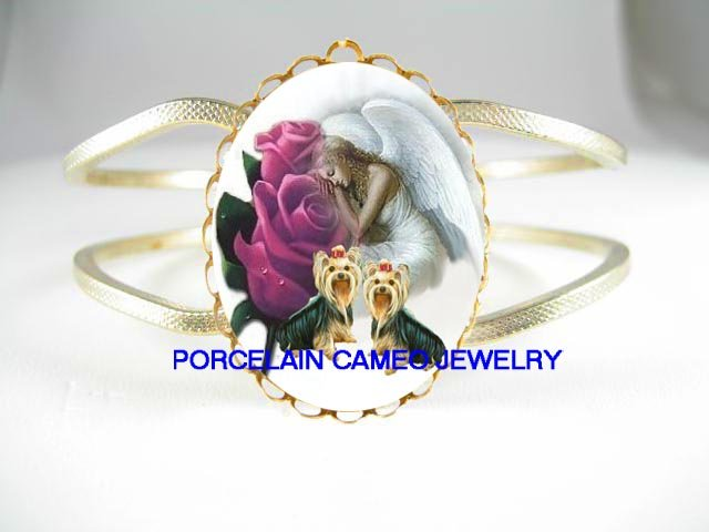2 YORKSHIRE DOG PURPLE ROSE ANGEL* CAMEO PORCELAIN VINTAGE HINGED BANGLE BRACELET