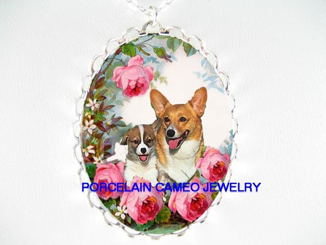2 WELSH CORGI MOM PUPPY ROSE PORCELAIN CAMEO NECKLACE
