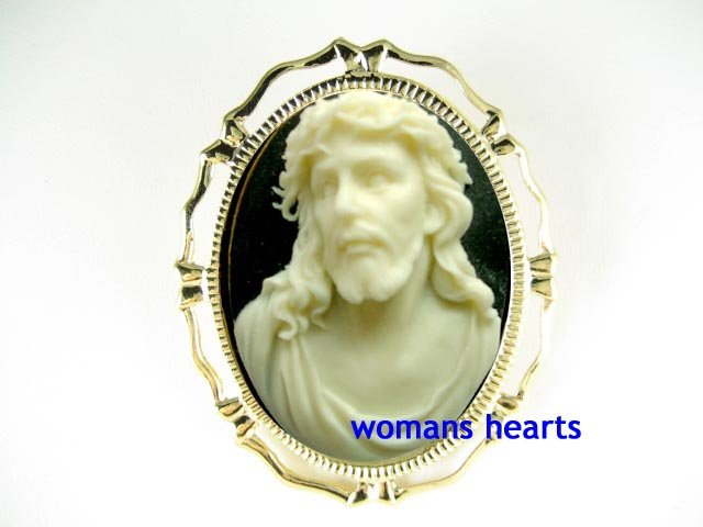 3D RELIGIOUS HOLY JESUS W/ THORNS CAMEO PIN BROOCH