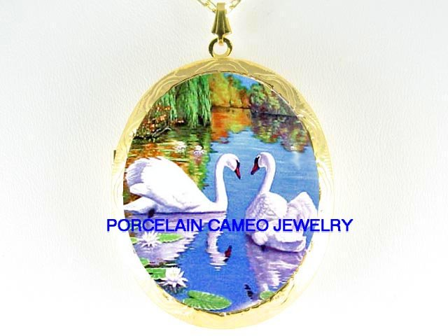 2 LOVING SWAN WATER LILY CAMEO PORCELAIN LOCKET NECKLACE