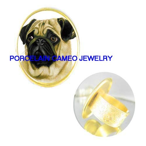 SWEET FAWN PUG DOG CAMEO PORCELAIN ADJUSTABLE RING 5-9