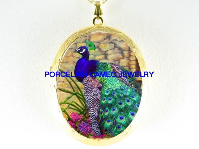 PEACOCK BIRD WITH PINK FLOWER*  CAMEO PORCELAIN LOCKET NECKLACE