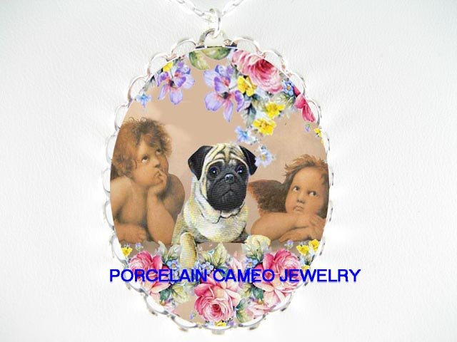 PUG DOG WITH 2 RAPHAEL ANGEL CHERUB ROSE CAMEO NECKLACE