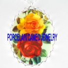 VICTORIAN ENGLISH ROSE AND YELLOW ROSE* CAMEO PORCELAIN NECKLACE