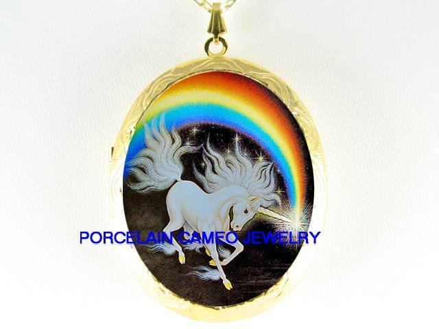 WHITE UNICORN HORSE RAINBOW* CAMEO PORCELAIN LOCKET NECKLACE