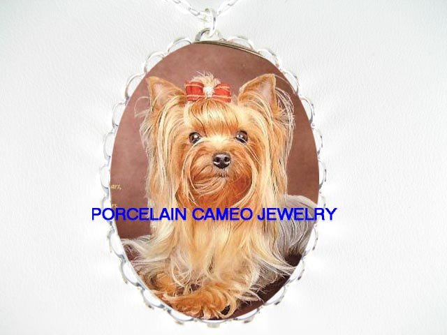 CUTE BOW YORKSHIRE TERRIER DOG CAMEO PORCELAIN NECKLACE