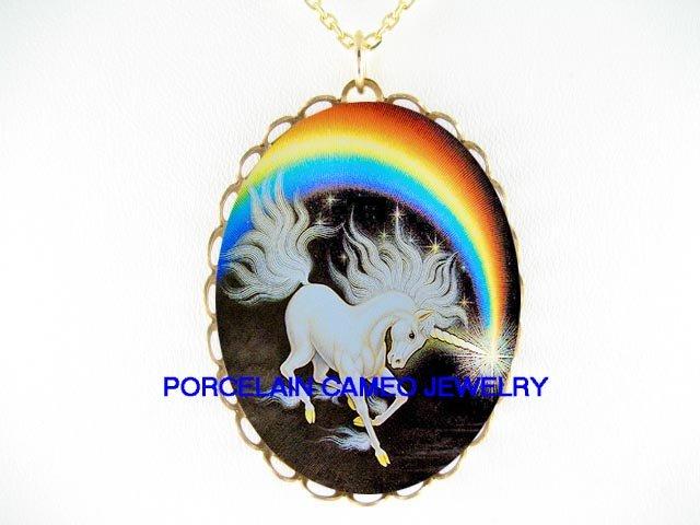WHITE UNICORN HORSE RAINBOW* CAMEO PORCELAIN NECKLACE