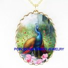 BLUE PEACOCK BIRD WITH ORCHID CAMEO PORCELAIN NECKLACE