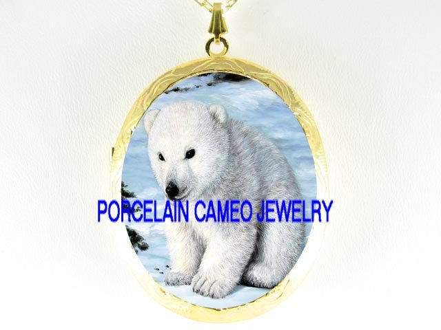 POLAR BEAR BABY CUB SNOW PORCELAIN CAMEO LOCKET NECKLACE