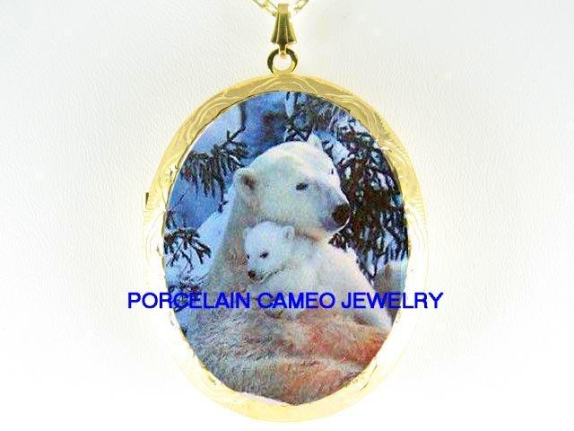 POLAR BEAR MOM CUDDLING BABY CUB SNOW  * CAMEO PORCELAIN LOCKET NECKLACE