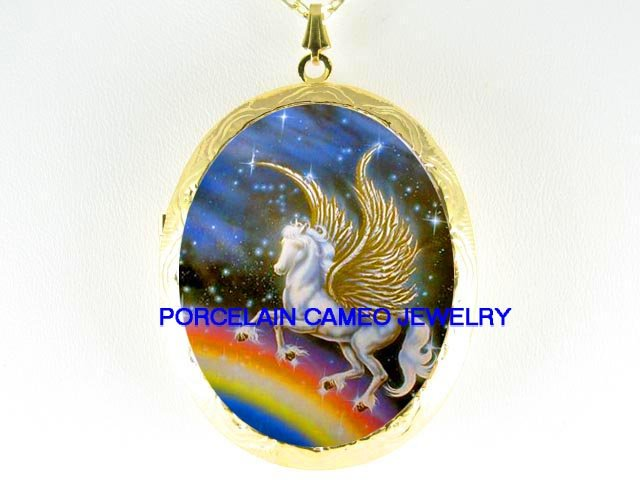 GOLDEN PEGASUS HORSE RAINBOW  *  CAMEO PORCELAIN LOCKET NECKLACE