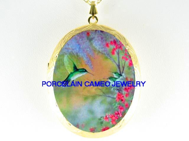 HUMMINGBIRD FAMILY MOM BABY CAMEO PORCELAIN LOCKET NK