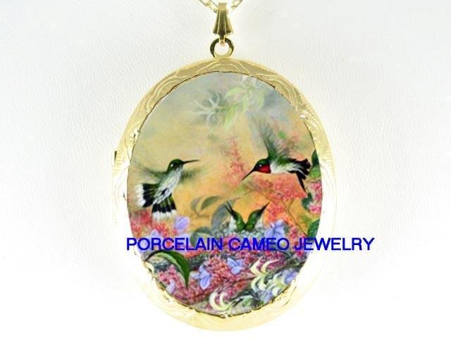 HUMMINGBIRD FAMILY MOM BABY PORCELAIN CAMEO LOCKET NK