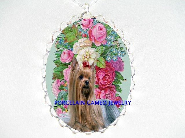 YORKSHIRE DOG ROSE FORGET ME NOT PORCELAIN NECKALCE