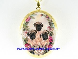 3 PUG PUPPY DOG VICTORIAN ROSE CAMEO PORCELAIN LOCKET
