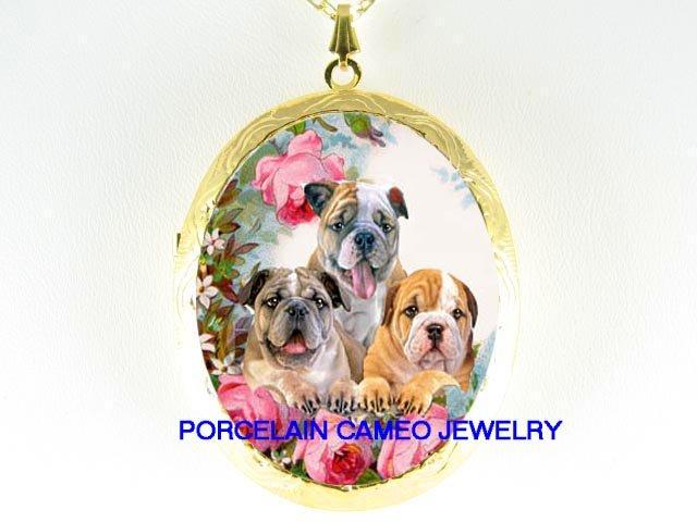 3 BULLDOG PUPPY ROSE GARDEN  * CAMEO PORCELAIN LOCKET NECKLACE