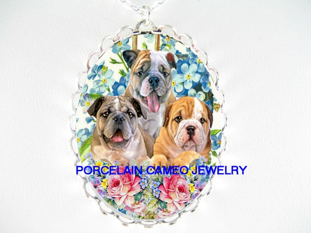 3 BULLDOG PUPPY ROSE FORGET ME NOT CAMEO PORCELAIN NECKLACE