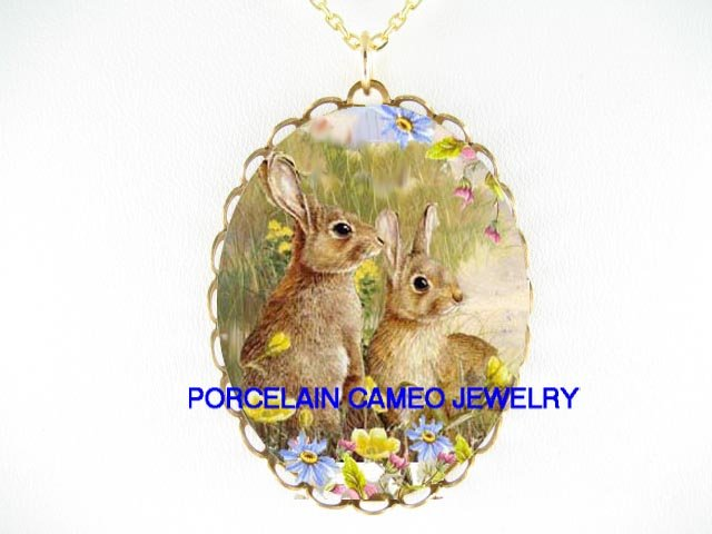 2 RABBIT BUNNY DAFFODIL DAISY CAMEO PORCELAIN NECKLACE