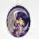 PURPLE ANGEL MOON FAIRY* CAMEO PORCELAIN NECKLACE