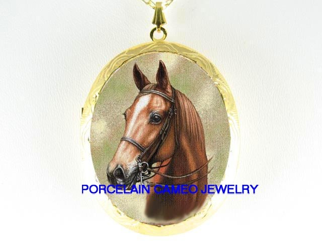 BROWN SADDLEBRED HORSE PORCELAIN CAMEO LOCKET NECKLACE